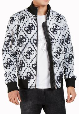 $150 New Mens Guess Quilted Pattern Moon Crater Full Zip Bom