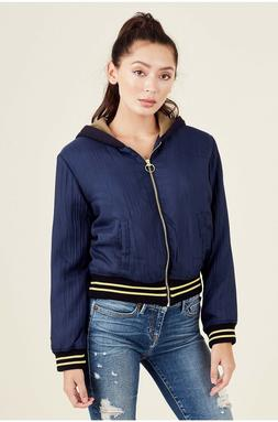 True Religion $249 Women's Crinkle Patched Bomber Hoodie Jac