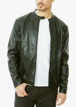 $290 KENNETH COLE Men FAUX LEATHER BOMBER FLIGHT ZIP UP JACK