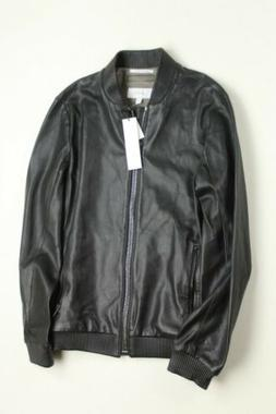 $395 Calvin Klein Perforated Slim Fit Bomber LEATHER Jacket