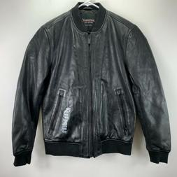 $498 Superdry Men's Black Full Zip Logo Leather Flight Bombe
