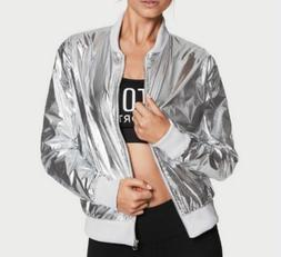 $79.50 VICTORIAS SECRET JACKET METALLIC BOMBER SILVER VS SPO
