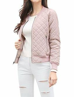 Allegra K Women's Quilted Zip Up Raglan Sleeves Bomber Jacke