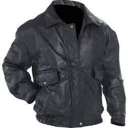 NWT Men Black Leather Bomber Jacket Coat Bike Ride Cold Smal
