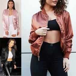 Women's Classic Bomber Jacket Coat Clothes Biker Outwear Zip