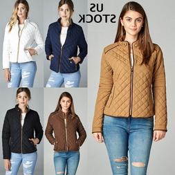 Women's Padded Jacket Lightweight Quilted Coat Outwear Winte