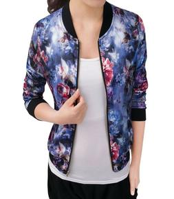 Women's Stand Collar Zip Up Floral Prints Bomber Jacket Blue