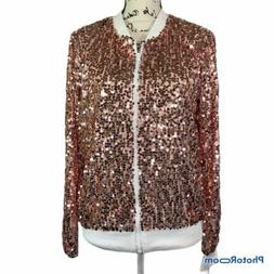 Anna-Kaci Womens Rose GoLd Sequin LS Front Zip Bomber Jacket