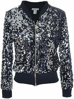 ANNA-KACI Womens Sequin Long Sleeve Front Zip Jacket with Ri