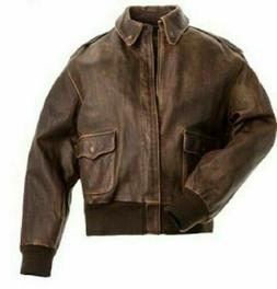 Aviator A-2 Flight Jacket Real Distressed Leather Bomber Jac