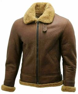 B 3 Shearling Bomber Jacket - WW2 Mens Brown Leather Aviator