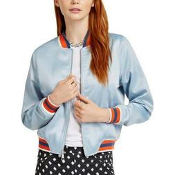Ban.do Womens Somewhere Blue Fall Retro Bomber Jacket Outerw