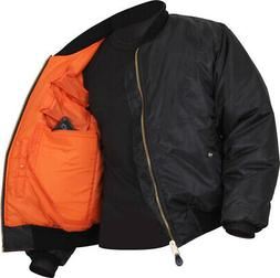 Black Concealed Carry Air Force MA-1 Reversible Bomber Coat