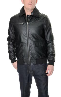 Kenneth Cole Reaction Black Faux Leather Bomber Jacket Remov