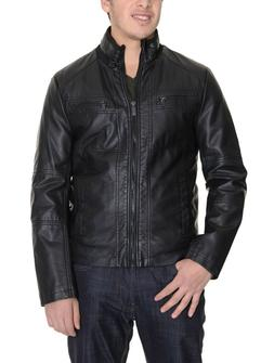 Kenneth Cole Reaction Black Faux Leather Bomber Jacket Size