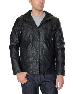 Kenneth Cole Reaction Black Faux Leather Hooded Bomber Jacke