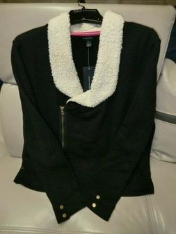 Tommy Hilfiger Black with White Faux Collor Knit Jacket Size