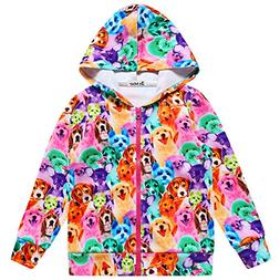 Jxstar Girl Bomber Jacket Rainbow Dog Print Cartoon Long Sle