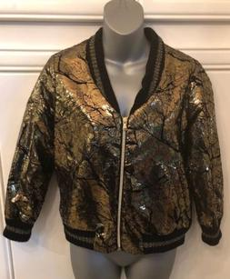 Brand New Kosmika Crackled Gold Metallic Bomber Jacket Size