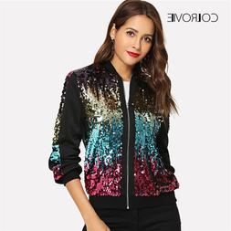 COLROVIE Casual <font><b>Zip</b></font> Up Basic Sequin <fon