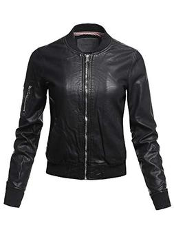 Awesome21 Casual Long Sleeves Faux Leather Bomber Jacket  Si