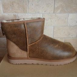 UGG Classic Mini Chestnut Bomber Jacket Suede Sheepskin Boot