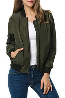 Zeagoo Women Classic Solid Biker Jacket Zip Up Bomber Jacket