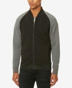 Kenneth Cole Reaction Color Blocked Bomber Jacket Black Grey