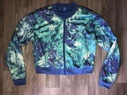 ADIDAS Cropped Jacket 8 Floral Purple Blue Festival Limited