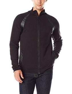 Kenneth Cole REACTION Men's Dbl Fcd Zip Mock, Black, X-Large