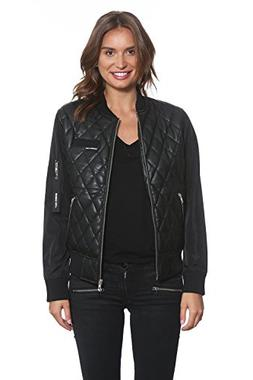 Members Only Women's Diamond Quilted Bomber Jacket, Black, E