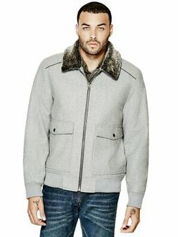 GUESS Factory Men's Corbett Wool-Blend Bomber Jacket