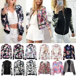 Fashion Women Retro Floral Zipper Up Bomber Jacket Casual Co