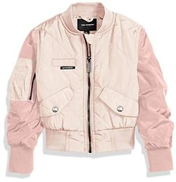 Members Only Girls' Big Quilted Bomber, Pink, 7/8