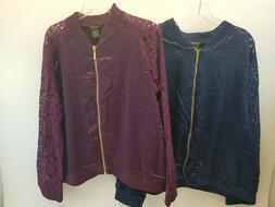 IMAN Global Chic Luxe Lace Bomber Jacket Satin Wine or Blue