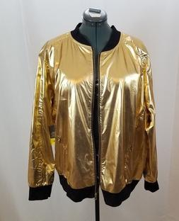 Gold Metallic Women Lightweight Bomber Jacket Xersion Size 1