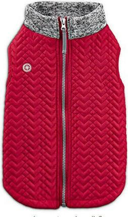 Good2Go Trail Bomber Dog Coat Zip up Jacket Red/ Gray Quilte