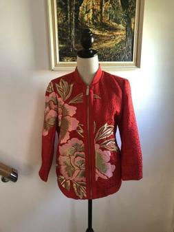 Ted Baker Herrne Embroidered Floral Burnt Orange Bomber Jack