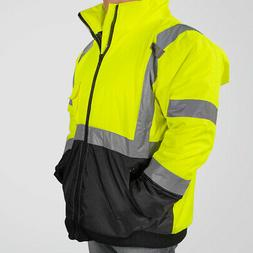 Hi-Vis Class 3 Safety Jacket Neon Reflective Coat Bomber Jac