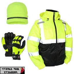 Hi-Vis Insulated Safety Bomber Jacket with Winter Weather Wo