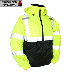 Hi-Vis Insulated Safety Bomber Jacket Orange and Lime ROAD W