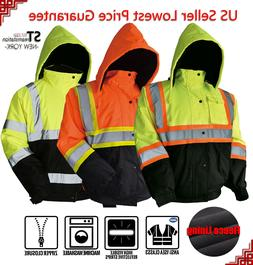 Hi Vis Class 3 Insulated Safety Jacket Bomber Jacket Coat Fl