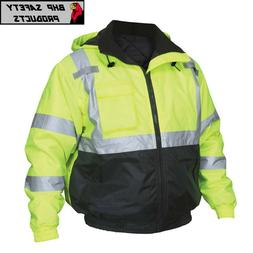 Hi-Vis Insulated Safety Bomber Reflective Jacket with Quilte
