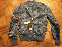 Alpha Industries camo bomber jacket, new with tags
