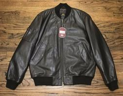 Alpha Industries MA-1 Leather Flight Bomber Motorcycle Jacke