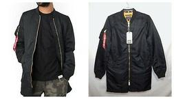 ALPHA INDUSTRIES MENS NEW MA-1 LONG JACKET SMALL S BLACK BOM
