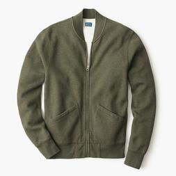 J Crew Bomber jacket in piqué fleece Heather Deep H6213 XS