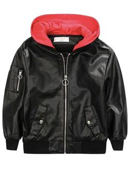 Kids Faux Leather Bomber Jacket Hoodie Outerwear Coat