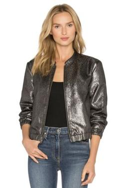Paige Kimi Bomber Jacket In Metallic Silver; Size L