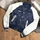 NWT Members Only Women Jacket Washed Puvarsity Bomber Denim